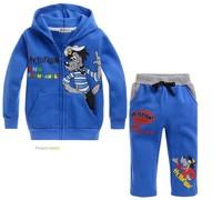 Children's Outfits Sets boy's blue Cartoon printed Hooded+pants boy's 2 piece suits(5pcs/lot)