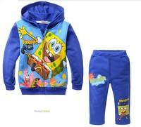 Children's Outfits Sets boy's blue Cartoon Spongebob printed Hooded+pants boy's 2 piece leisure suits(5pcs/lot)