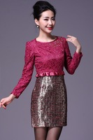Free Shipping 2013 New Arrival Lace Embroid  Long Sleeve Red Blue Pencil Style Women's Short Dress With Stylish Tube Decorating