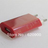 wholesale 10pcs red  One Year Warranty Top Quality AC Power USB Adapter Wall Charger For iPhone 5 4 4S 3GS iPod EU Euro Plug