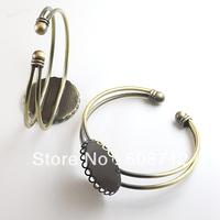 Free shipping!!!! 25mm Lace Base Antique Bronze Plated  Bangle bracelet cabochons blank base cabs