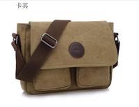2013 hot sell Vintage Army Canvas Cow Leather Shoulder Bags Messenger Bag School Bag ,designer brand shoulder bag