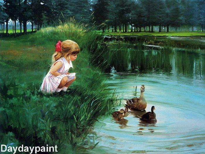 Los niños de fabiola - Página 4 Hand-Painted-Children-Oil-Painting-Morning-Discovert-FREE-SHIPPING