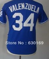 #34 Fernando Valenzuela Youth  Baseball Jersey, Cheap Sports Jersey,Embroidery logos,Mix order , Free shipping fee