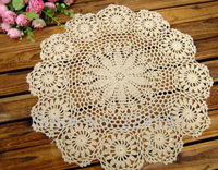 6cs/lot hand crocheted beige doilies wholesale doilies for wedding decor FREE SHIPPING!!!