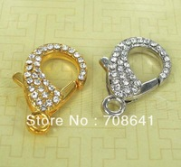 30x18mm New Mixed Rhinestone CZ Shamballa Lobster Magnet Magnetic Buckle Clasp Hooks Connector for Leather Bracelet Wholesale