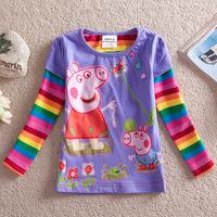 Baby peppa pig long sleeve t shirt 2013 New Arrival Kids Brand pig tops Girls rainbow sleeve t shirt Wholesale Free Shipping