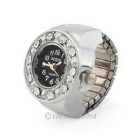 Silvery Round Rhinestone Unisex Men Lady Finger Ring Stretchy Strap Watch  61973