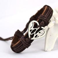 Wholesale lots 6 pcs LOVE Genuine leather bracelet Wristband CL1022