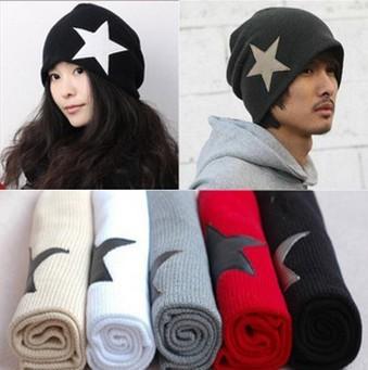 Holiday Sale Free Shipping New Fashion Korean UNISEX Men & Women Star Knit Hat Skull Cap Ski Knit Hat HTZZM-004