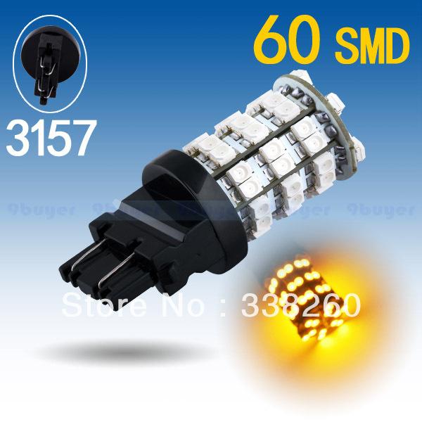 3156 P27W 3157 P27/7W T25 Amber / Yellow 60 SMD Stop Tail Brake Turn 60 LED Car Light Bulb Lamp Parking Car Light Source(China (Mainland))