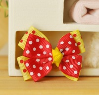 10 pieces/1 LOT Small Dog cat puppy yellow and red Rubber band Polka Dot Bow Hair Accessories pet accessories