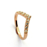 ZYR011 V Lover Hot Sell Elegant 18K Gold Plated Wedding Ring Made with Genuine Full Sizes Wholesale