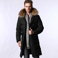 Free shipping EMS,1PCS,Polyester fiber,80% Grey Duck Down,long design fur collar hooded down coat male men's clothing outerwear