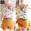 Hot Sale New Women Colorful Birds Chiffon T shirt Batwing Loose Blouse Tee Tops # L034882@#SMT