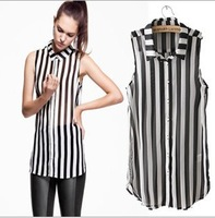 2013 Spring/Autum Europe & America Women chiffon Sleeveless Turn-down Collar stripe shirt ,Free Shipping!