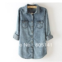 Free shipping New Women Vintage Color Denim Stylish Blouse Women Top Shirt S M L