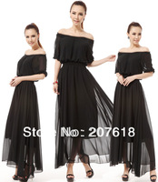 Summer Women Sexy Off Shoulder Half Sleeve Chffion Dress Black Maxi Dresses BOHO Beach Party Dress