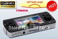 "2013 Newest Car Black Box G-sensor Camera DVR F80 2.7""TFT LCD 120Degree Wide Angle Three Cameras 720p HD HDMI Free Shipping"