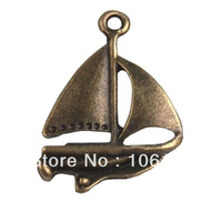 Free Shipping Antique Bronze Plated Jalor Charms Alloy Metal Sailboat Pendants 150pcs/Lot Wholesale