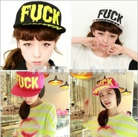 Fuck letter print hiphop cap baseball cap flat brim hat female flat along the cap thin hat