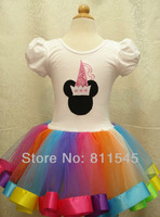 Retail Minnie Mickey White Girl's Dress with Rainbow Lace Tutus Baby Princess for Kids Birthday Party Clothes Toddler Clothing