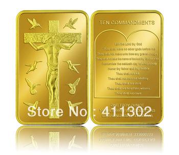 25pcs/lot  24k Gold Replica .999  Jesus Christ 10 Commandments BULLION  Bar ,gold clad coin,challenge gold coins