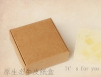 Wedding Favors, Kraft Paper Boxes, Jewelry Box, handmade Soap Box, Gift Box, 7.5*7.5*3cm gift box packaging 100pcs