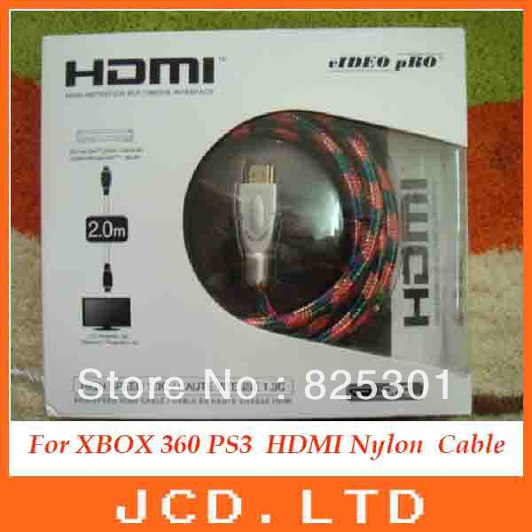 For XBOX 360 PS3 2m HDMI Nylon Mesh Fully shielded Cable with high definition multimedia interface(China (Mainland))