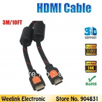 1pc/lot (3m 10ft)  wholesale 1080P 1.4v high speed HDMI Cable with ethernet for LCD HDTV DVD PS3 PC