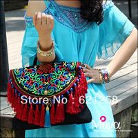 Free Shipping and new arrival! National embroidery trend tassel messenger bag national bag colored glaze handbag