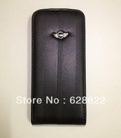 Wholesale business style  car logo Mobile Phone Leather  Case for  iphone 4 4s