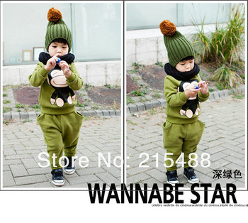 Factory Sale Directly New 2013 Arival Autumn Children clothing sets Cartoon Big mouth Monkey Winter Kids sets