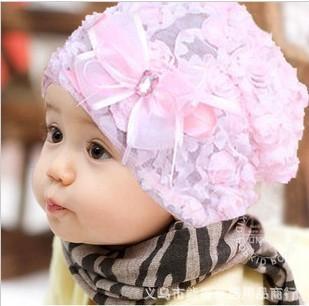 10 pcs/lot 2013 spring autumn baby children's hat new design kids cute flower cap free shipping New High CC0362