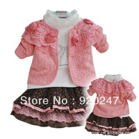 Hot sale - 2013 New Spring Autumn 3-piece set, Coat+T-Shirt+ Skirt, girls fashion suit , Free shipping kids set children clothes