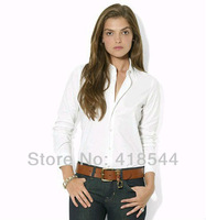 Free Shipping POLO Tops Shirts for Women clothing,Wholesale fashion long sleeve shirt brand cotton 4 colors women shirts hotsell