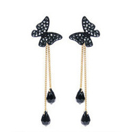 Min.order is $30(mix order) butterfly full rhinestone tassel long design drop pendant dual earrings