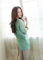 2013 Women New Free Shipping Stylish Lace Splicing Batwing Sleeve Leisure T-shirt Green SW13070105