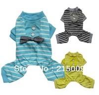 Free Ship 2013 Stripes Dog Pajamas Overalls Dog Clothes Wear Dog Clothing Coats