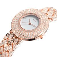 Weiqin Fashion Full Rhinestone  Gold Plated Luxury Fashion Quartz Watch Women Dress Bracelet Watches ML0423