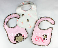 free shipping+15pcs/lot Baby bib Infant carter  3-layer Baby Waterproof bib/Mark Carter Baby wear cute monkey