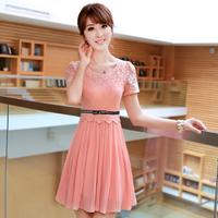 2014 summer chiffon one-piece dress slim chiffon women's plus size lace one-piece dress short-sleeve dress with belt