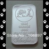 Free shipping 5pcs/lot SilverTowne Bullion Silver Plated Brass Core Bar