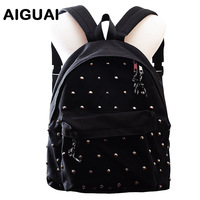 Free shipping 2014 new punk rivet thickening backpack double-shoulder canvas school bag pack casual shoulder bag