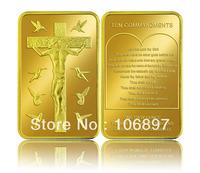 Free shipping Newnest 50 pieces / lot esus Christ Ten Commandments Gold Plated 24k Coin / Souvenir Coin