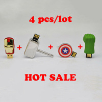 Free shipping full capacity 4pcs/lot LED Ironman/American shield/Hulk hand/Thor hammer 2.0 Memory Stick USB Flash Drive, GT1005