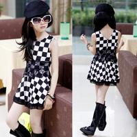 Children's clothing of female children in the summer of 2014 black and white plaid dress chiffon dress dress