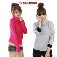 12 COLOURS FREE SHIPPING WOMEN LONG-SLEEVED TURN-DOWN COLLAR SWEATER WOMEN PRIMER SHIRT LADY TURTLENECK WARM PULLOVERS