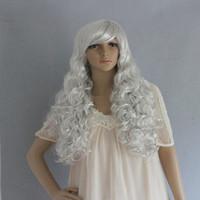 Ball model wig cos wig glue wave long curly hair silver