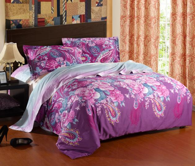 Purple comforter bedding set king queen size comforters sets satin bed